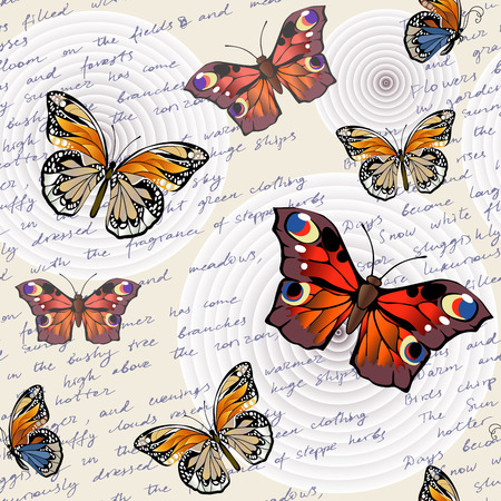 Pattern with letterings and butterflies. Seamless decorative background. Vector illustration. Illustration