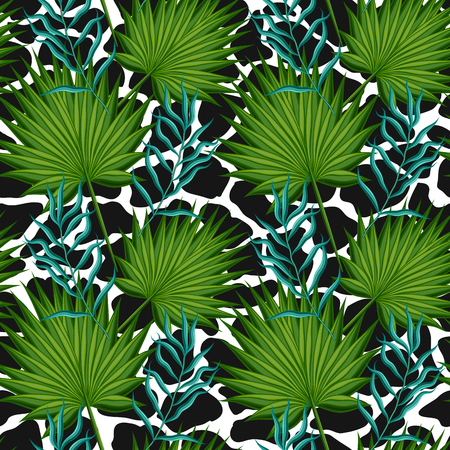 Seamless pattern with leaves palm trees. Иллюстрация