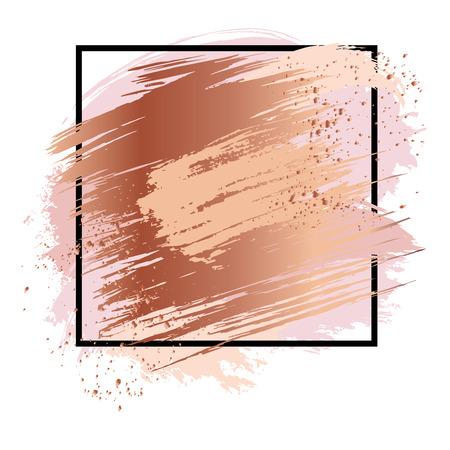 Fondo con trazos de oro antic, manchas metálicas y manchas. Conjunto de gotas de oro rosa, salpicaduras de bronce, manchas brillantes, elementos grunge y trazos de cobre. Pinceles dibujados a mano. Ilustración vectorial