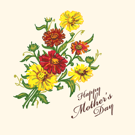 Greetings  background for mothers day. Hand drawn card with flowers.  Vector illustration.