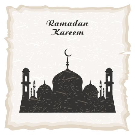 ラマダンカリームの挨拶の背景。モスクとミナレットのシルエットを持つラマダンカリームグリーティングカード。ベクターの図。