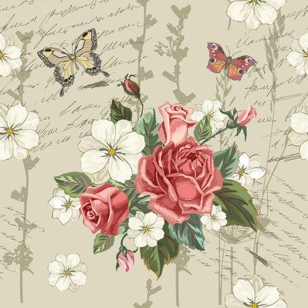 Seamless pattern in vintage style with blooming english roses. Floral retro background. Pattern with flowers. Vector illustration.