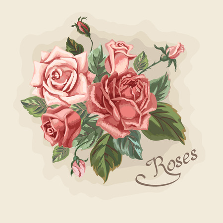 Bouquet of roses in vintage style. Hand drawn flowers. Vintage card with blossoming  roses. Vector illustration. Vettoriali