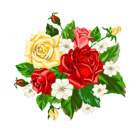 Bouquet of roses on white background. Hand drawn flowers. Card with blossoming roses. Vector illustration.