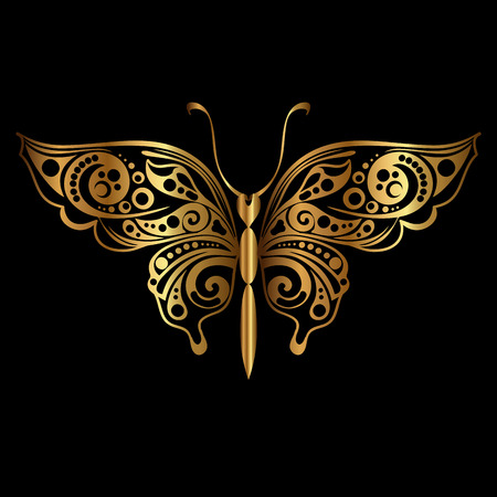 Golden silhouette of butterfly on black background. Decorative abstract design element. Vector illustration