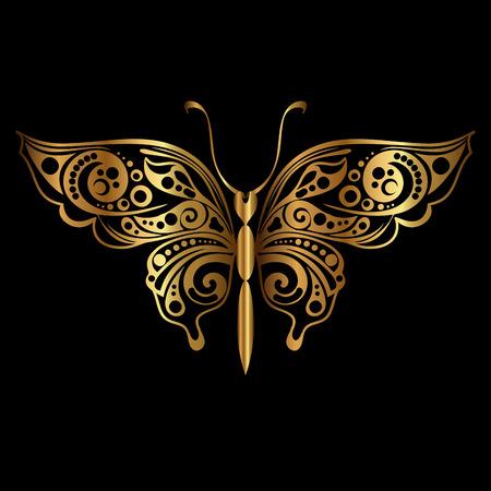 Silueta dorada de mariposa sobre fondo negro. Elemento decorativo de diseño abstracto. Ilustración vectorial