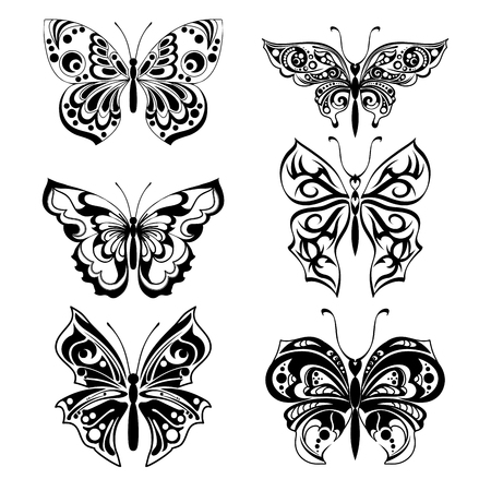 Black silhouettes of butterflies. Set of filigree isolated silhouettes. Decorative abstract design element. Vector illustration
