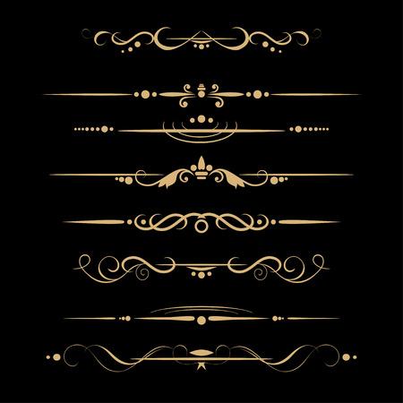 Set of design gold elements and ornamental vintage decoration. Vector illustration Illustration