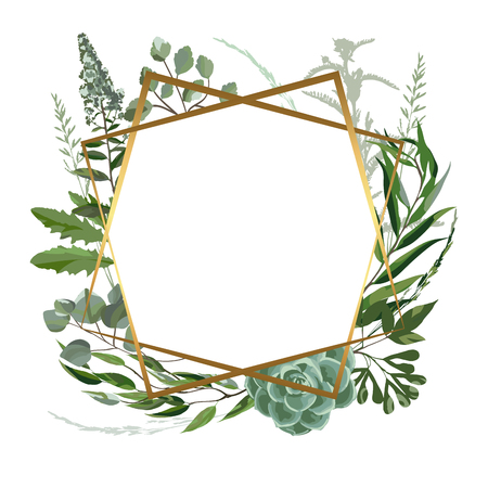 Wedding invitation frame  with leaves, succulents, twigs and plants. Herbal garland with greenery and green vegetation. Template design card with tree branches. Vector illustration