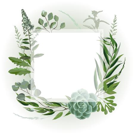 Marco de invitación de boda con hojas, suculentas, ramitas y plantas. Guirnalda de hierbas con verdor y vegetación verde. Tarjeta de diseño de plantilla con ramas de árboles. Ilustración vectorial