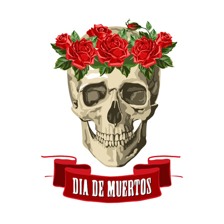 Decorative background with skull and roses, symbol of mexican holiday Day of dead. Vector illustration. Иллюстрация
