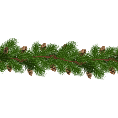 Christmas decorations with fir tree and pine cones. Design element for Christmas decoration. Vector illustration Çizim