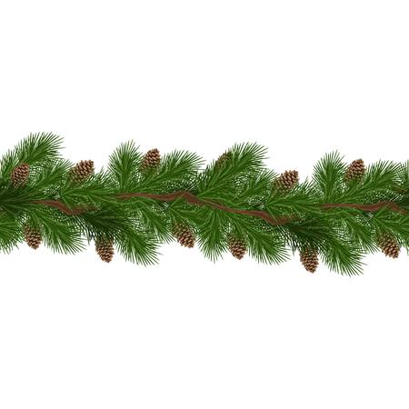 Decorazioni natalizie con abete e pigne. Elemento di design per la decorazione di Natale. Illustrazione vettoriale