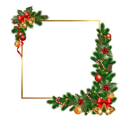 Fond de Noël avec décorations, sapin et éléments décoratifs. Illustration vectorielle.