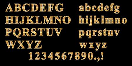 Gold metal painted alphabet set. Vector illustration.