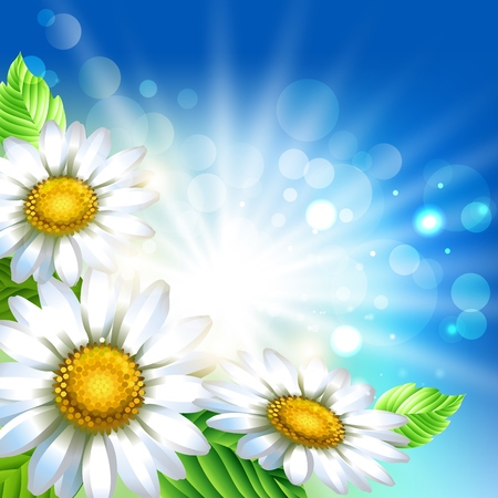 Background with chamomiles. Spring decorative flowers. Blue sky background template for banners. Vector illustration. 向量圖像