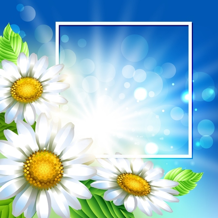 Background with chamomiles. Spring decorative flowers. Blue sky background template for banners. Vector illustration. Ilustração