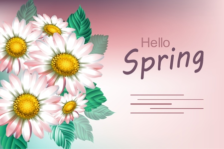 Background with chamomiles. Spring decorative flowers. Template for banners. Vector illustration.
