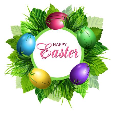 Easter card with eggs and grass. Spring decorative background. Vector illustration. Ilustração