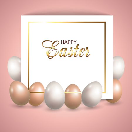 Card with Easter eggs. Background of Happy Easter Holiday. Decorative greeting card. Vector illustration. 向量圖像