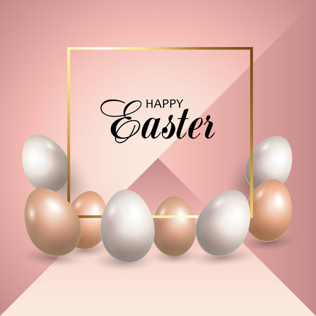 Greeting card with Easter eggs. Decorative background of Happy Easter Holiday. Vector illustration.