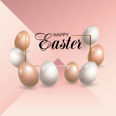 Greeting card with Easter eggs on pink background. Vector illustration.