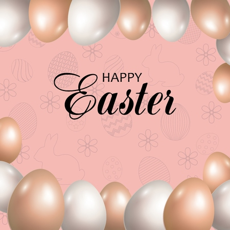 Pink background with Easter eggs. Happy Easter greeting card. Vector illustration.