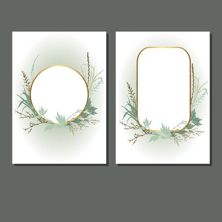 Template design cards with grass. Wedding invitation frames  with leaves, twigs and plants. Herbal garland with greenery and green vegetation. Vector illustration