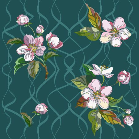 Seamless apple pattern with branches, leaves and flowers. Decorative floral  ornament. Vector illustration