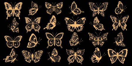 Set golden silhouettes of butterflies. Decorative abstract design element. Vector illustration