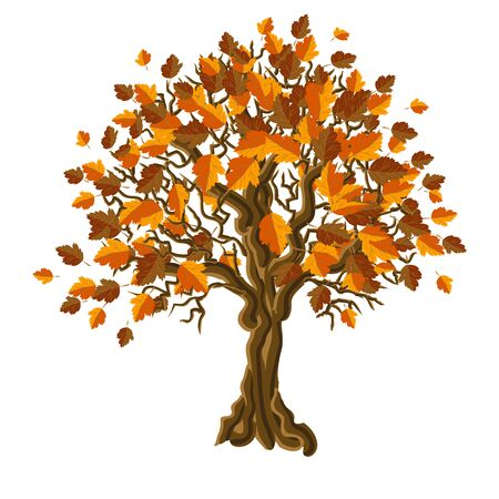 Decorative tree with bright autumn leaves. Vector illustration.