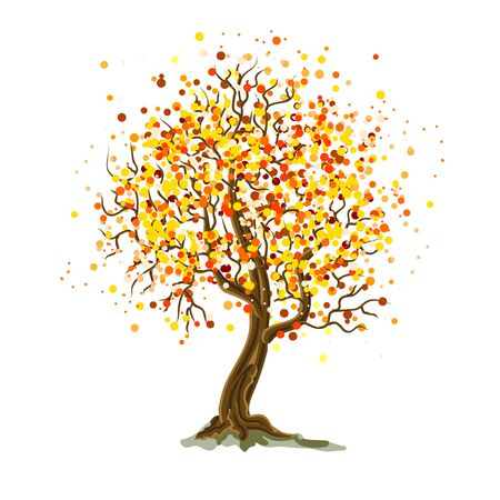 Autumn background with a bright decorative tree. Vector illustration.