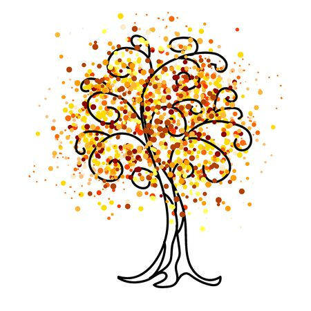 Decorative bright autumn tree. Vector illustration.