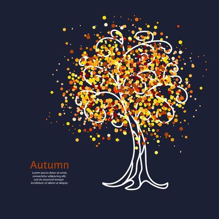 Decorative bright autumn tree on dark background. Vector illustration. 일러스트