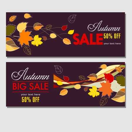 Autumn sale in your business. Colorful dark template for banners, labels, flyers, booklets with autumn leaves for your advertising and products promotion. Vector illustration.