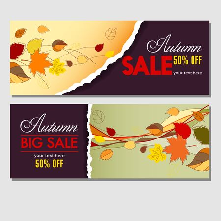 Autumn sale in your business. Colorful template for banners, labels, flyers and covers with autumn leaves for your advertising and products promotion. Vector illustration. Stock Illustratie