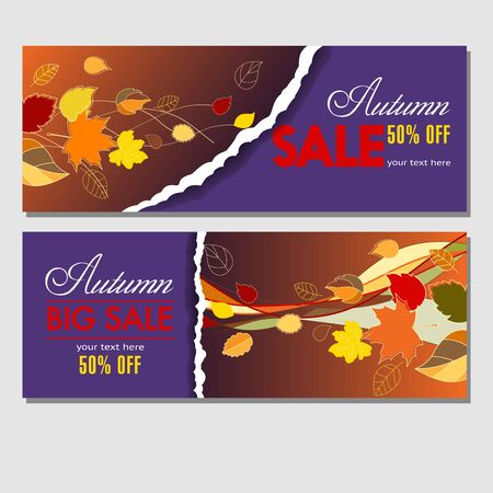 Autumn sale in your business. Colorful template for banners, tickets, flyers, booklets with autumn leaves for your advertising and products promotion. Vector illustration.