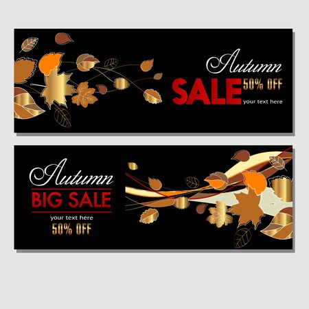 Autumn sale in your business. Black template for banners, labels, flyers, booklets with autumn leaves for your advertising and products promotion. Vector illustration.