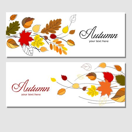 Autumn sale in your business. Colorful design for banners, labels, flyers, booklets with autumn leaves for your advertising and products promotion. Vector illustration.