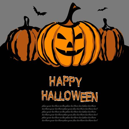 Happy Halloween greeting card. Template for Halloween invitation. Vector illustration for poster or celebratory letter. 일러스트