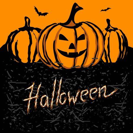 Happy Halloween banner. Template for Halloween invitation. Vector illustration for greeting card or celebratory letter. Иллюстрация