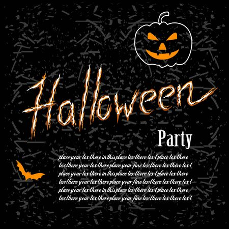 Happy Halloween poster. Template for Halloween greeting card. Vector illustration for invitation or celebratory letter.