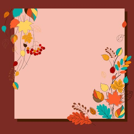 Autumn background. Colorful frame for banners, postcards, booklets with autumn leaves. Vector illustration. 일러스트