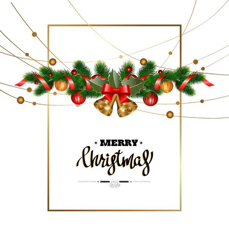 Christmas decorations with bells, fir tree, pine cones, mistletoe, holly, berries and decorative elements. Design for Christmas card. Vector illustration