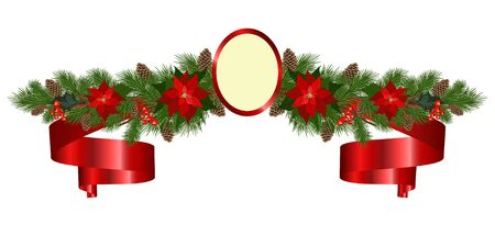 Christmas garland of fir branches, flowers poinsettia, holly, cones, berries and roundel. Holiday background with Christmas decoration. Vector illustration