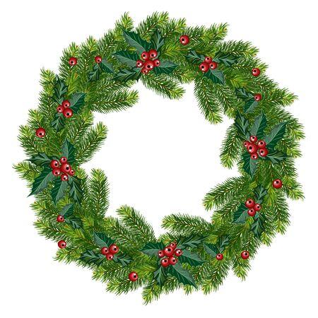 Wieniec jodłowy na białym tle. Ozdobna dekoracja świąteczna z gałęzi i ostrokrzewu. Ilustracja wektorowa.