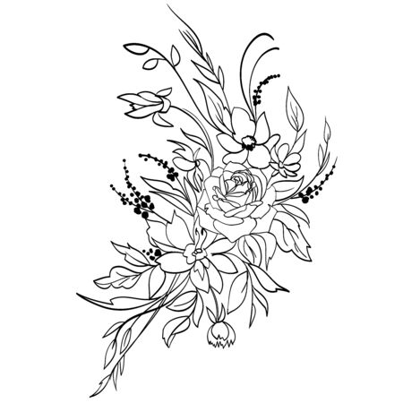 Coloring page with flowers. Figure black lines on a white background. Freehand drawing of the bouquet of flowers. Vector illustration.