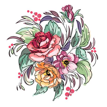 Freehand drawing of the bouquet of flowers in the vintage style. Vector illustration. 向量圖像