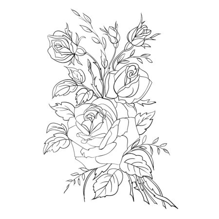 Coloring page with roses. Freehand drawing of the bouquet of flowers. Vector illustration. 向量圖像