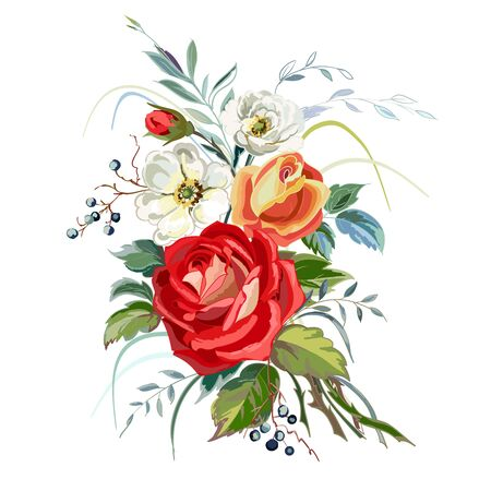 Bouquet of roses on a white background. Background of bright flowers. Vector illustration.  向量圖像